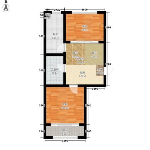 富城国际2室1厅1卫1厨78.00㎡户型图