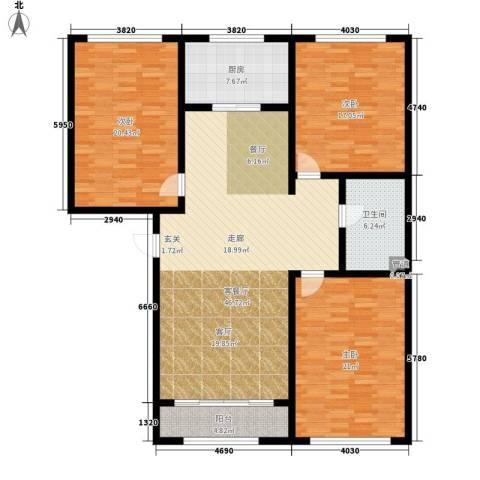 富城国际3室1厅1卫1厨139.00㎡户型图