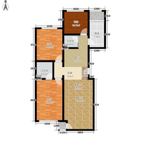 世源佳境3室1厅2卫1厨166.00㎡户型图