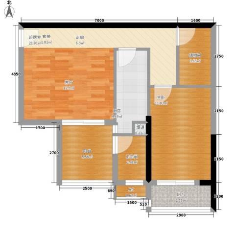 银汇华庭1室0厅1卫1厨74.00㎡户型图