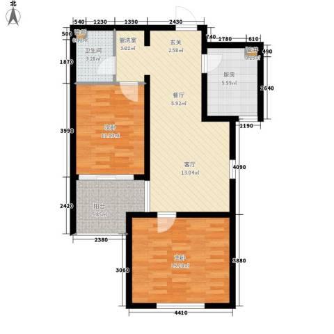 水木大兴2室0厅1卫1厨95.00㎡户型图