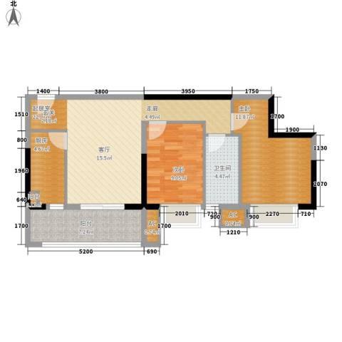 银汇华庭2室0厅1卫1厨87.00㎡户型图