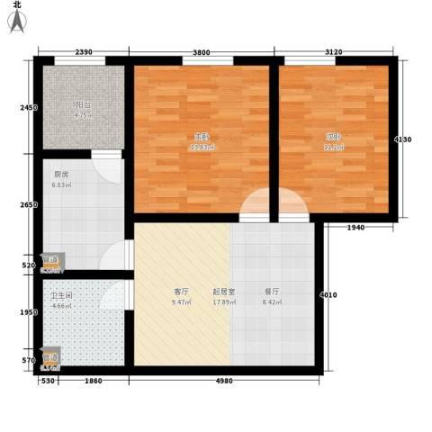置嘉公寓2室0厅1卫1厨68.00㎡户型图