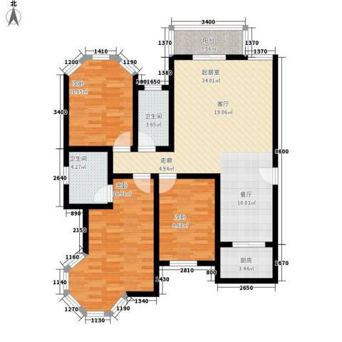 东方花城3室0厅2卫1厨101.00㎡户型图