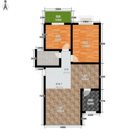 紫薇苑2室1厅1卫1厨81.00㎡户型图