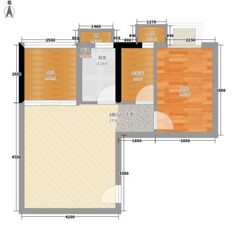 银汇华庭1室0厅1卫1厨59.00㎡户型图
