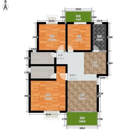 紫薇苑3室1厅2卫1厨108.00㎡户型图