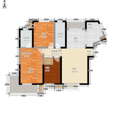 东方花城3室0厅2卫1厨100.62㎡户型图