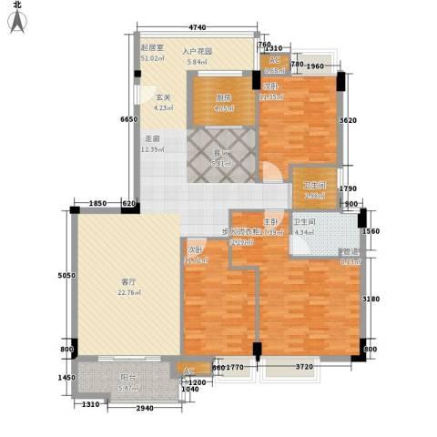 银汇华庭3室0厅2卫1厨130.00㎡户型图