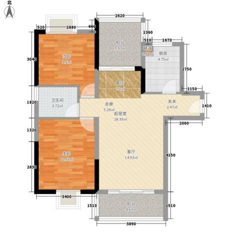 东方花城2室0厅1卫1厨120.00㎡户型图