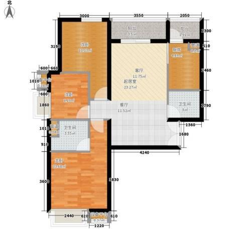 东方花城3室0厅2卫1厨103.00㎡户型图