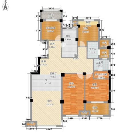恒威国际城3室1厅2卫1厨140.00㎡户型图