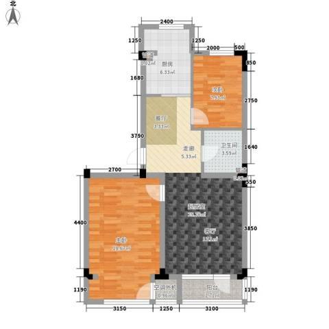 月潭半山洋房2室0厅1卫1厨66.00㎡户型图