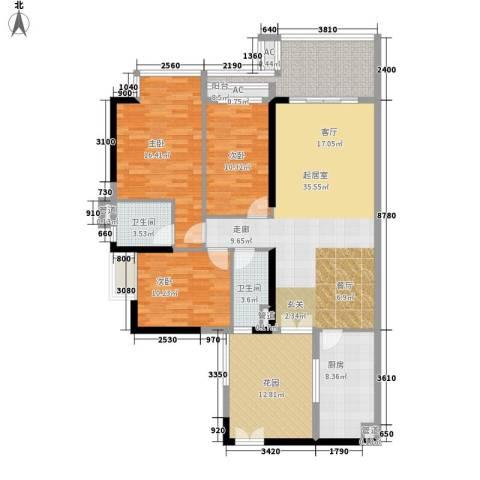 小北御景3室0厅2卫1厨127.00㎡户型图