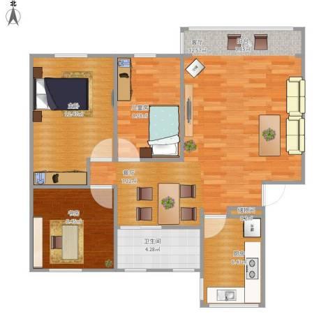 罗山八村3室1厅1卫1厨98.00㎡户型图
