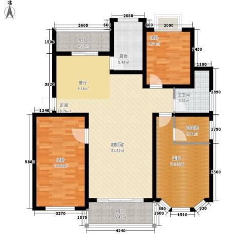 广天青城雅居3室0厅2卫1厨127.00㎡户型图