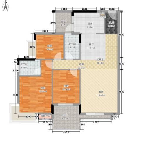 都市兰亭3室0厅2卫1厨135.00㎡户型图