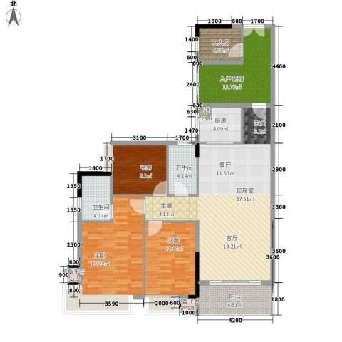 都市兰亭3室0厅2卫1厨134.00㎡户型图