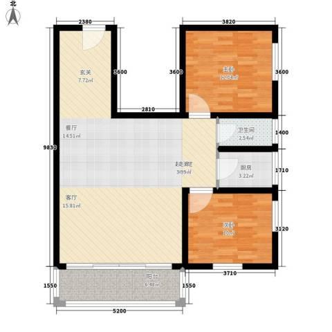 黄埔银丰花园2室0厅1卫1厨86.00㎡户型图