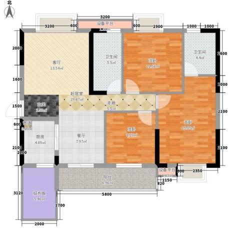 兰亭熙园3室0厅2卫1厨116.00㎡户型图