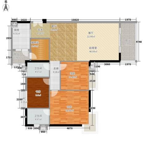 小北御景3室0厅2卫1厨134.00㎡户型图