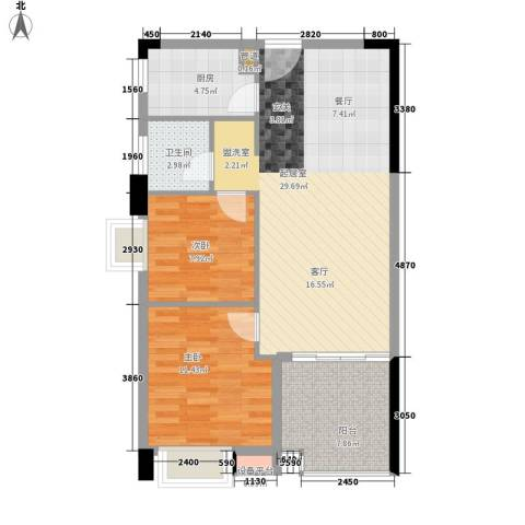 都市兰亭2室0厅1卫1厨73.00㎡户型图