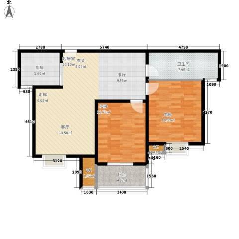 永利华都2室0厅1卫1厨90.00㎡户型图