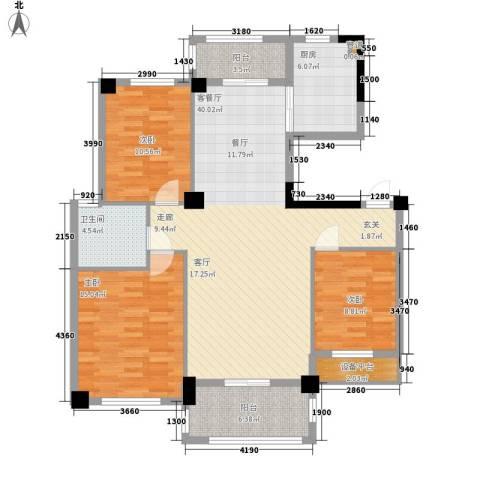 统建水岸人家3室1厅1卫1厨111.00㎡户型图
