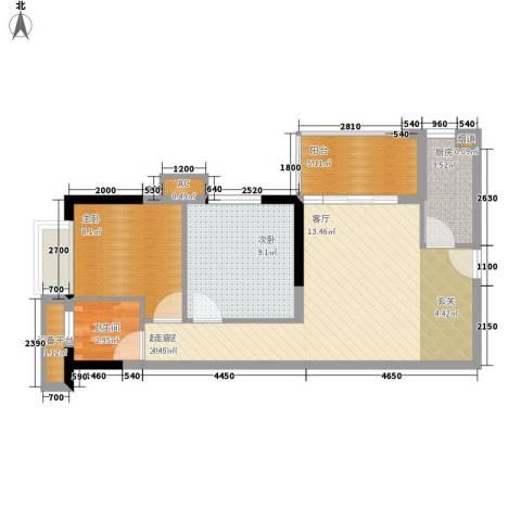 银汇华庭2室0厅1卫1厨76.00㎡户型图