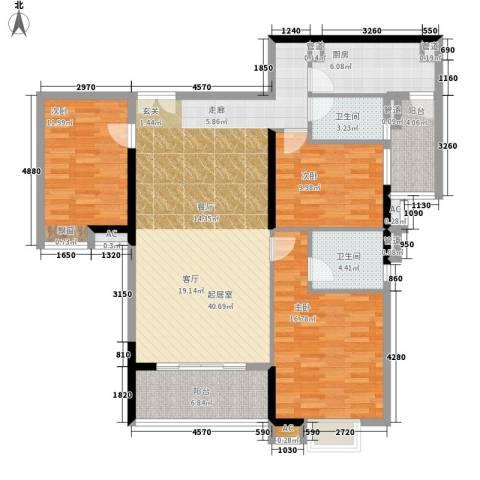 小北御景3室0厅2卫1厨120.00㎡户型图