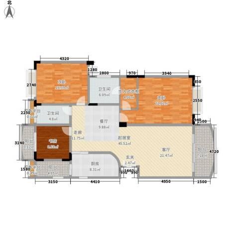 华南御景园3室0厅2卫1厨147.00㎡户型图