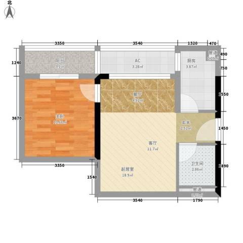 小北御景1室0厅1卫1厨51.00㎡户型图