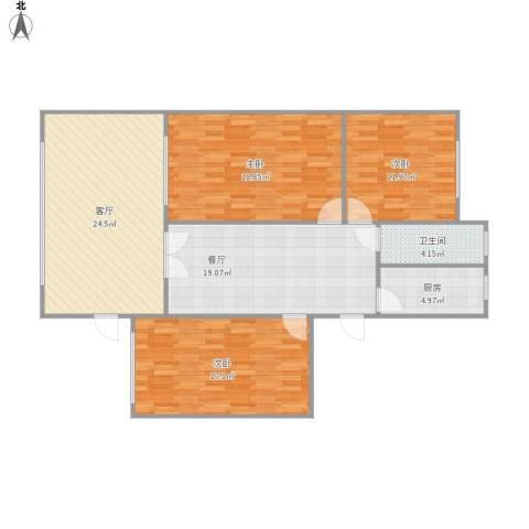 核二院小区3室2厅1卫1厨134.00㎡户型图