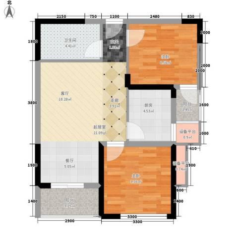 瑶绮园2室0厅1卫1厨79.00㎡户型图