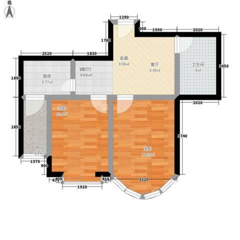 和谐家园2室1厅1卫1厨69.00㎡户型图
