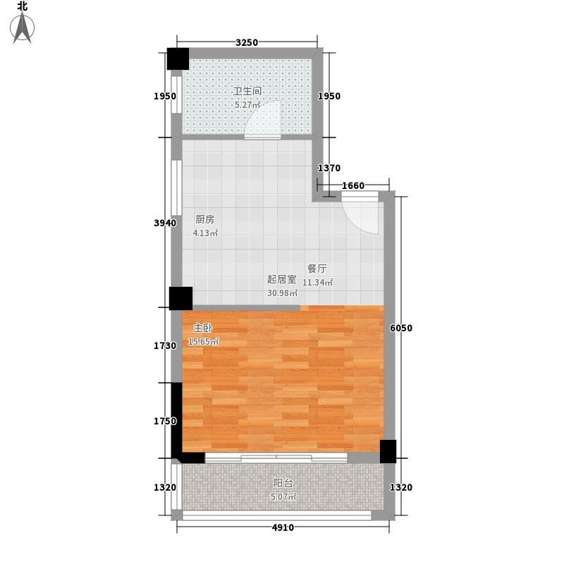 伟业氧立方47.59㎡12#D单元1室户型