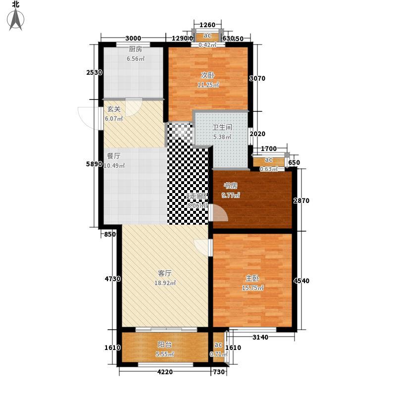 中海临安府111.00㎡C1户型3室2厅