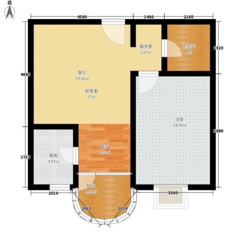 大马庄园1室0厅1卫1厨64.00㎡户型图