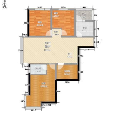 和谐家园3室1厅2卫1厨128.00㎡户型图