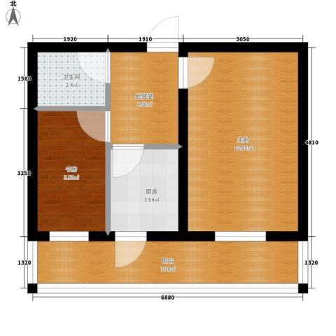 展轮新世界2室0厅1卫1厨53.00㎡户型图