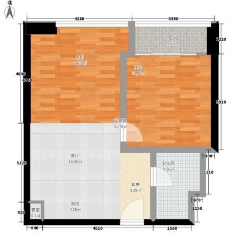 利汇名悦大厦1室0厅1卫0厨60.00㎡户型图