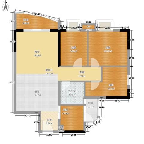 宏康东筑3室1厅1卫1厨91.00㎡户型图