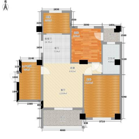 统建水岸人家2室1厅1卫1厨87.00㎡户型图