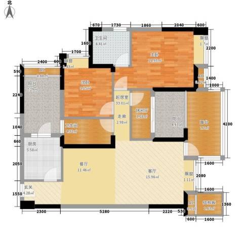 金海岸天府花园水城2室0厅2卫1厨100.00㎡户型图