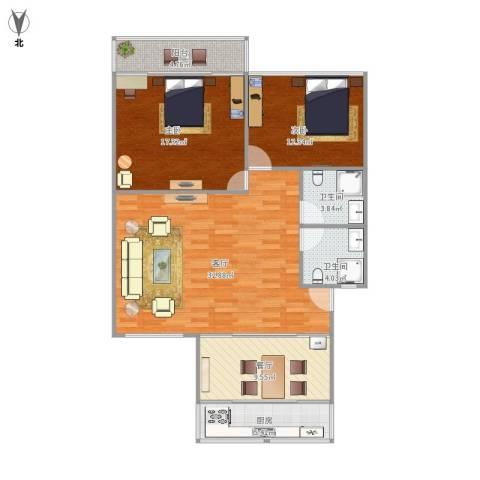 三庆新馨家园2室2厅2卫1厨121.00㎡户型图