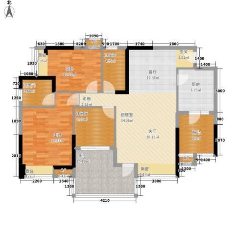 金海岸天府花园水城2室0厅2卫1厨116.00㎡户型图