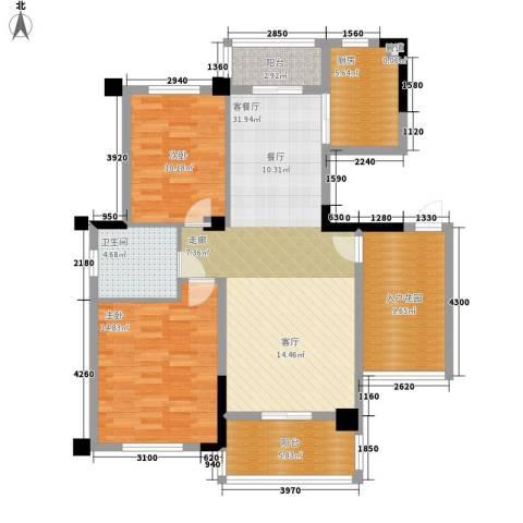 统建水岸人家2室1厅1卫1厨99.00㎡户型图