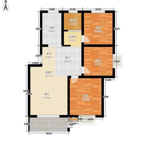 自来水厂宿舍3室1厅1卫1厨130.00㎡户型图