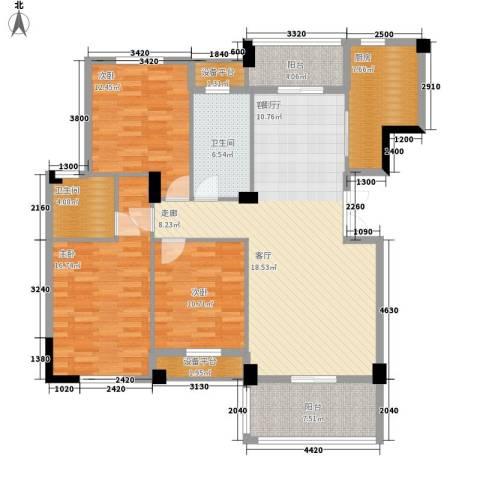 统建水岸人家3室1厅2卫1厨126.00㎡户型图