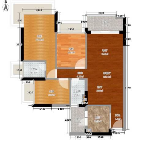 雅居乐海南清水湾3室1厅2卫1厨113.00㎡户型图
